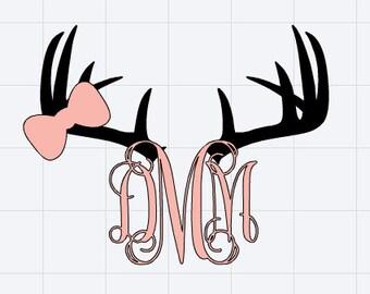 """Custom Deer Antlers Monogram Sticker/Decal 5"""" x 3.85"""""""
