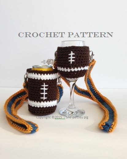 Free Pattern Crochet Wine Glass Holder : Football Beer and Wine Glass Holder PDF CROCHET PATTERN