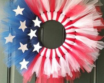 Fourth of July Flag Wreath