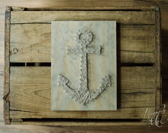 Anchor String Art - Nautical - Home Decor - Cabin Decor - Seaside Art - Lake Decor - Beach Decor - Coastal Decor - Rustic Wood Decor
