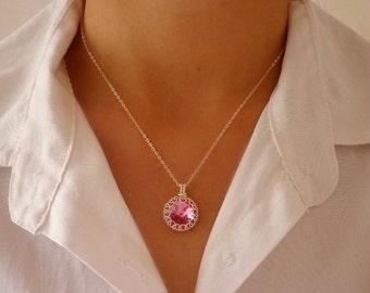 Swarovski crystal pendant, Sterling silver wire wrapped crystal necklace pendant, Swarovski rivoli pendant
