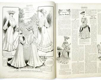 Femina antique french fashion 1900 Paris - old illustrations engravings Belle Epoque Edwardian - ads magazine retro ephemera