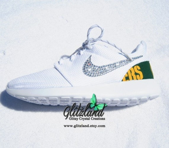 kxqqa Swarovski Nike White Roshe Run w/ Green Bay Packers by Glitzland