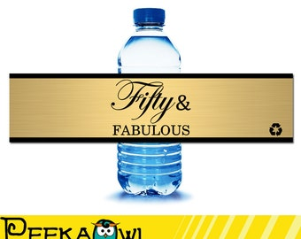 Instant Download Kiss 50th birthday water bottle labels - Black and gold 50th birthday water labels - Fifty and fabulous water labels!!!