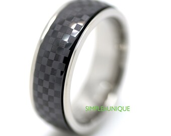 Men's Black Ring, Ceramic and Titanium Wedding Band, Mens Titanium Ring, Mens Unique Ring Band, Strong and Light Weight