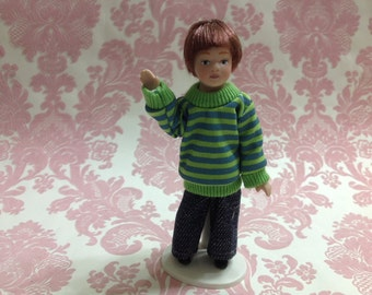 Dollhouse Miniature Porcelain Little Boy Poseable Ceramic Doll with Stand 1:12