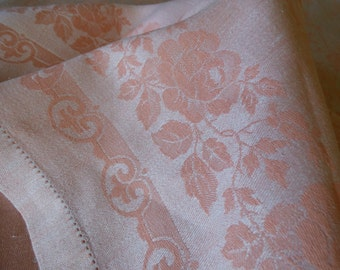 """Vintage Peach Damask Linen Tablecloth, Hand Hemstitched, Mid Size 56"""" x 76"""", Excellent"""