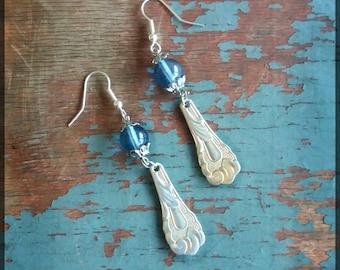 Handmade silver spoon and blue beads dangle earrings