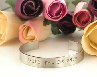 ENJOY THE JOURNEY/Inspirational Mantra Bracelet/Great gift/ Quotes/Stainless Steel Bracelet/adjustable fit/Handmade/Handstamped personalized