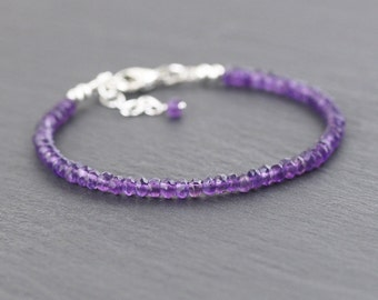 Amethyst Beaded Bracelet in Sterling Silver or Gold Filled. Dainty Bracelet. Delicate Stacking Bracelet. Purple Gemstone Jewelry. Jewellery