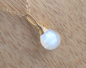 Rainbow Moonstone & Gold Filled Pendant. AAAA Flashy Blue Gemstone Necklace. Wire Wrapped Jewelry. Bridesmaid Gift. Flower Girl Jewellery