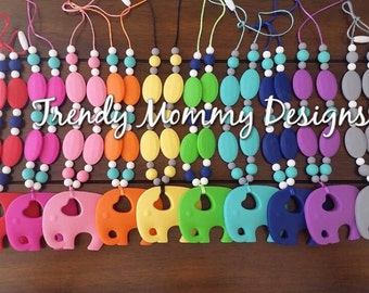 Trendy Elephant Silicone Teething / Nursing Necklace for Mommy! Made with BPA, lead & Metal Free Silicone! Makes a great gift!