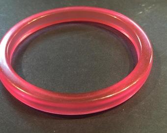 Vintage 1970s Pink Translucent Plastic Bangle