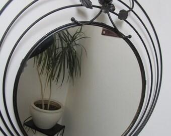 Ornate Black Metal Round Mirror
