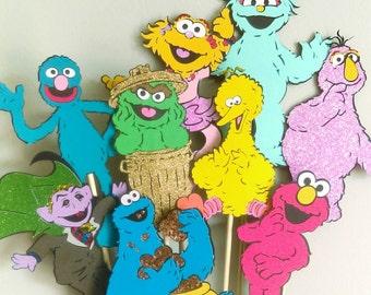 Sesame Street centerpiece, 9 characters, sesame Street birthday decorations, elmo, big bird