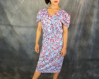 Karat Club, Vintage Dress, Floral Dress, Secretary Dress, Made in USA, Vintage Floral Dress, Size Medium, Print Dress