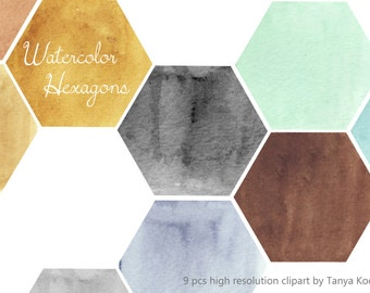 Watercolor Hexagon Design Elements - watercolor clipart hexagons