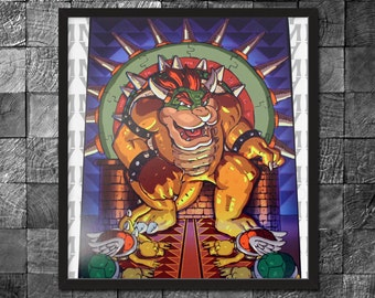 King Bowser & His Iron Throne Digital Glossy Photo Print Wall art