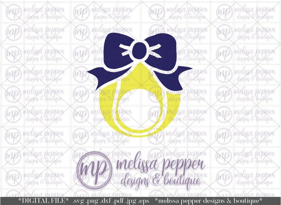 tennis ball monogram with bow digital file by melissapepperdesigns