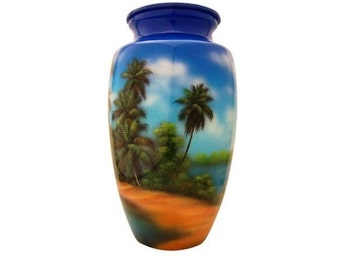 Hand Painted Tropical Paradise Urn