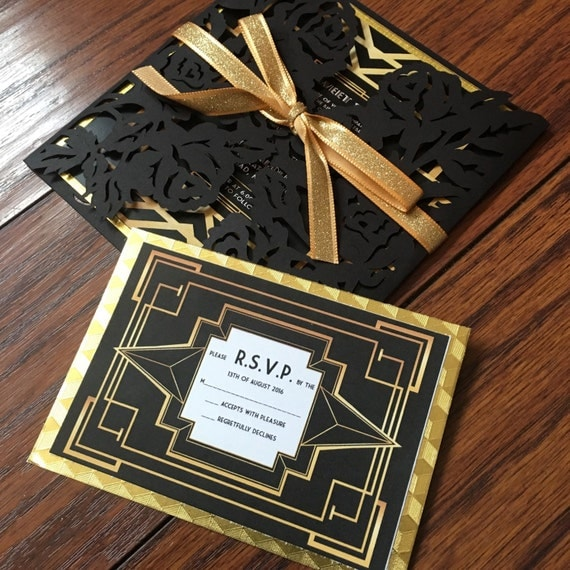 The Great Gatsby Invitation with RSVP card