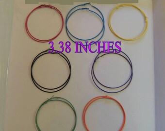 3.38 Inch colorful hoop earrings