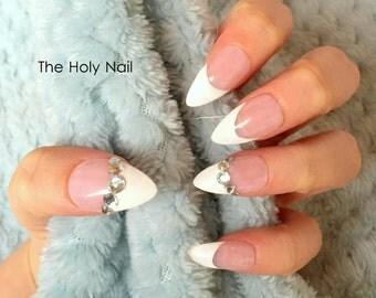 FALSE NAILS - French Polish Diamond - Stick On - The Holy Nail UK