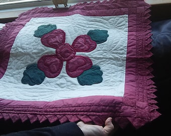 Lancaster Rose hand appliqued  and hand quilted wall hanging