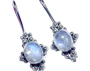 Sterling Silver Rainbow Moonstone Cabochon Earrings