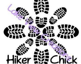 "Hiking Boot Print Flower Pattern Permanent Vinyl Decal Sticker 5"" x 5"""