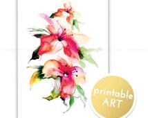 Printable Flower Illustration. Magnolia watercolor art. Fashion illustration. Instant Download, wall art, printable, home decor, Quote Print