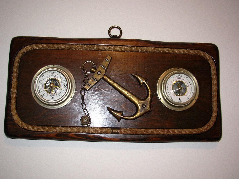 Vintage Carrington Barometer & Thermometer Nautical Wall Decor