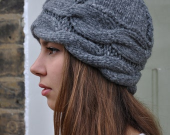 Hand Knitted, Chunky Cabel Hat, Merino Wool,