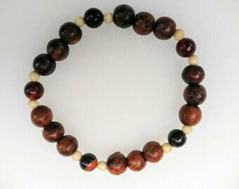Dark wood and jasper stretch bracelet