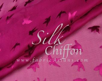 Pigeon Fabric. Hot Pink Silk Chiffon. SCZ101243