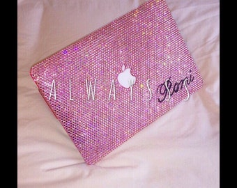 Laptop Case Rhinestone macbook case Handmade light rose light pink crystal Bling Case glitter gift ideas trends MacBook Pro hard case