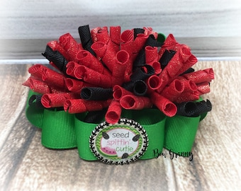 Watermelon Bow, Watermelon Hairbow, Summer Bow, Summer Hair Bow, Funky Loop Bow, Funky Bow, Over the Top Bow, Red and Green Bow, Red Hairbow
