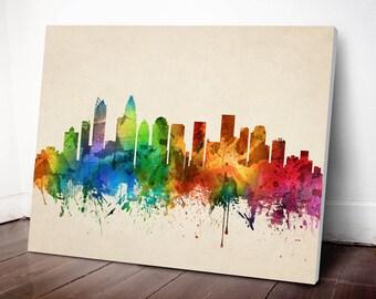 Charlotte Skyline Canvas Print, Charlotte Cityscape, Charlotte Art Print, Home Decor, Gift Idea, USNCCH05C