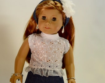 Created for American girl doll, 18 inch dolls, Jean skirt, crop top, headband, handmade