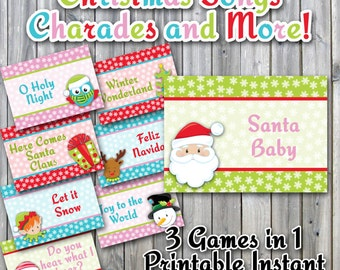 Christmas Charades Printable PDF - Christmas Song Version - Instructions for 3 different games - Party Game Printable Download