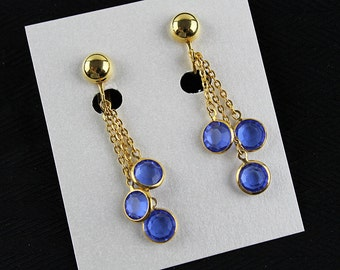 Vintage Blue Glass Dangle Clip Earrings, J191