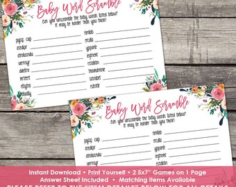Floral Baby Word Scramble Game Baby Shower Game - Girl Baby Shower Games -Watercolor Baby Shower Baby-111