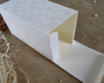 2 Pcs Embossed Paper Boxes, Cream, 3.15''x3.15''x5.85'', Packaging, Favor Gift Packaging, Gift Boxes, Favor Boxes, Wedding Boxes