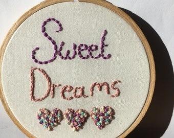 Sweet dreams wall art , hoop art