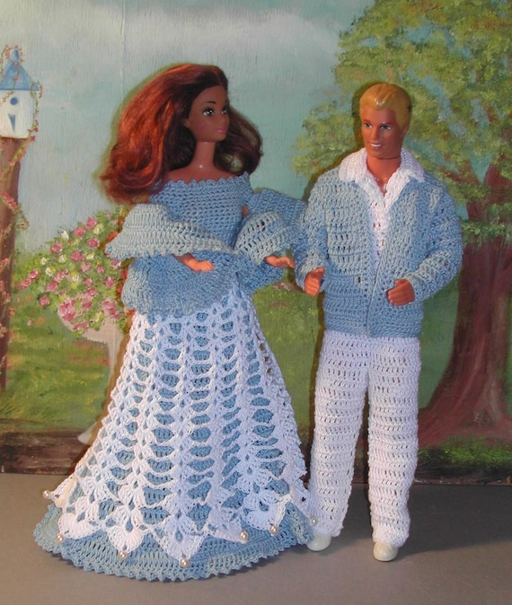Free Knitting Patterns For Ken Dolls : Crochet Fashion Doll Ken & Barbie Pattern 88 SPRINGTIME