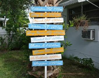 Wood Arrow Directional Sign, Rustic Beach House Decor, Directional Yard Sign, Garden decoration signpost