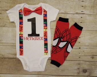 Superhero superman batman Avengers Hulk first birthday bow tie shirt suspenders baby boy cake smash outfit leggings