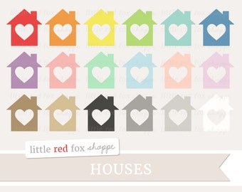 Heart House Clipart, Moving Clip Art Cottage Cabin Building Home Label Banner Shape Tag Cute Digital Graphic Design Small Commercial Use