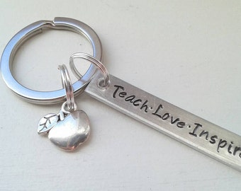 Hand Stamped Small Teacher Keychain With Teach Love Inspire and Silver Apple Charm - Teacher Gift - Name Keychain - Graduation - Day Care