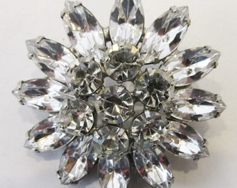 Vintage 1950s Signed Weiss Rhodium Plated Rhinestone Pin